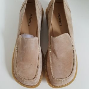 Passport Sand Suede Leather Slip On Loafers